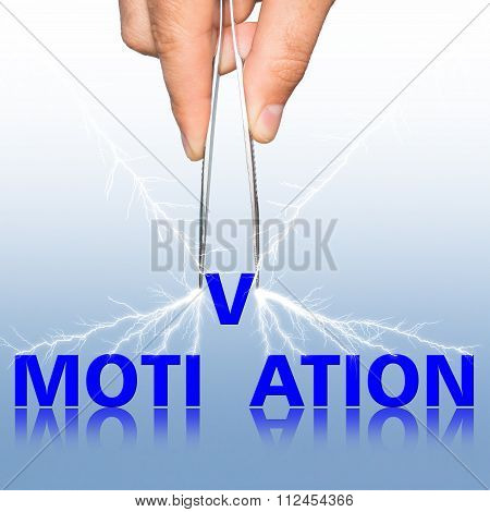 Hand With  Forceps And  Word Motivation