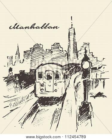 Tram Manhattan New York vector drawn sketch