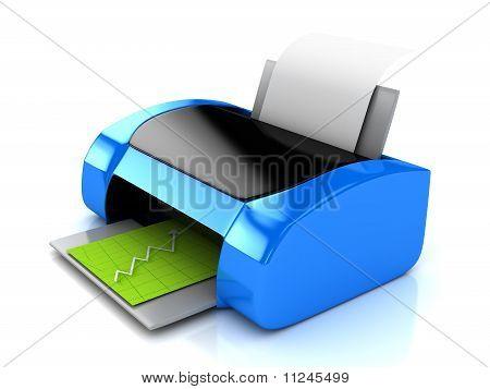 3D Blue Printer Over White