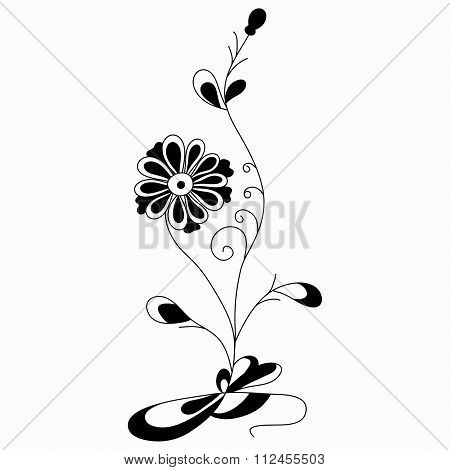 Flower Abstract Vector Illustration Of A Classic Style On A White Background