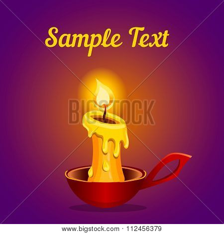 Card With A Burning Candle