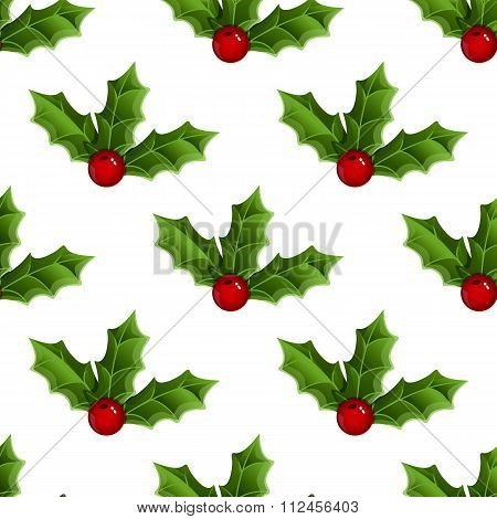 Seamless Pattern With Mistletoe