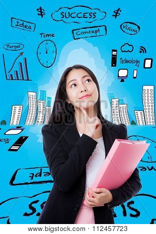 Young Business Woman Thinking Has Many Ideas On Blue  Background.