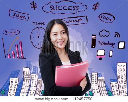 Asian Woman Smiling And Holding Pink File. Decision Making Process Concept.