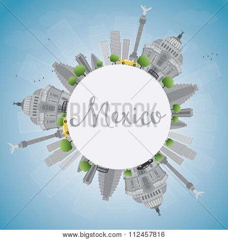 Mexico skyline with gray landmarks and blue sky. Vector illustration. Business travel and tourism concept with historic buildings and copy space. Image for presentation, banner, placard and web site.