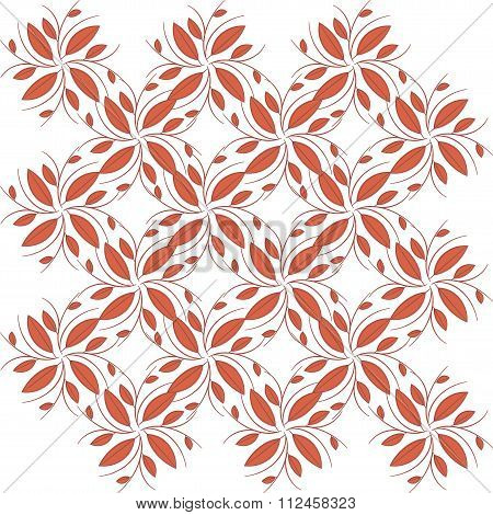 Seamless background, abstract red, burgundy branches and leaves on a white background.