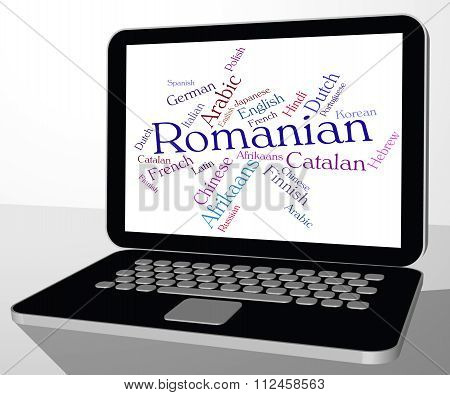 Romanian Language Indicates Text Wordcloud And Communication