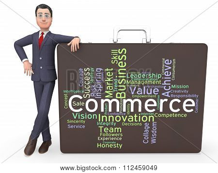 Commerce Words Represents Sell Trade And E-commerce