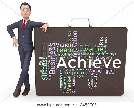 Achieve Words Means Succeed Wordcloud And Text