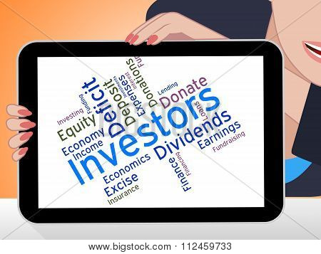 Investors Word Indicates Return On Investment And Growth
