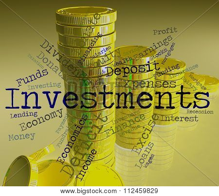 Investments Word Indicates Words Savings And Text
