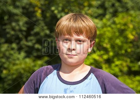 Boy With Sweating Face After Sport