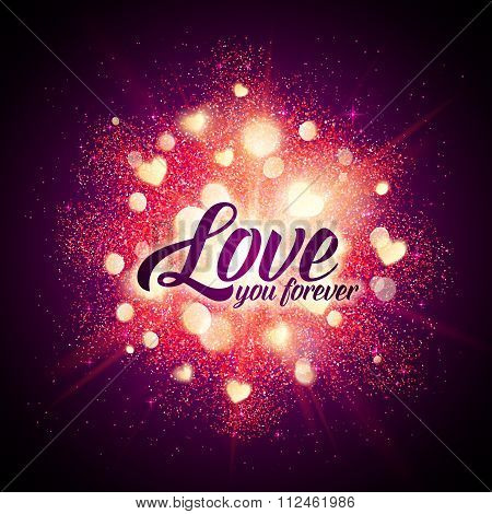 You forever vector sign on shining hearts flash at black background