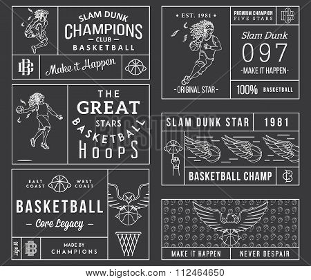 Basketball Labels White On Black