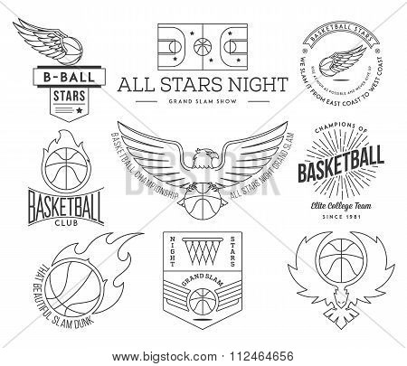 Basketball Sport Badges Black On White