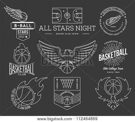 Basketball Sport Badges White On Black