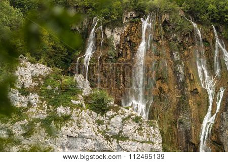 Beautiful Waterfalls Among Green Mountains