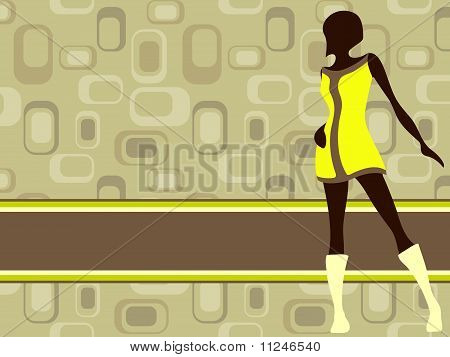 Olive green retro banner with mod girl silhouette