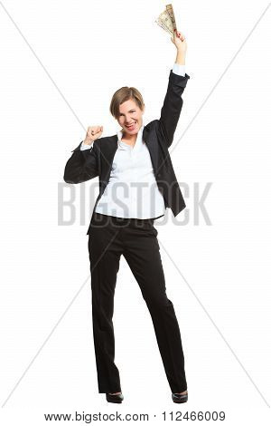 young cheerful caucasian businesswoman in black suit holding money isolated on white