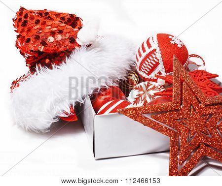 christmas decoration isolated , white background for post card greetings, toy design on tree macro,