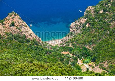 Coastal Landscape Of Corsica. Small Wild Beach
