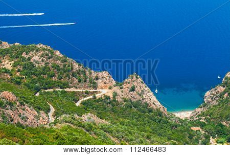 Coastal Landscape Of Corsica Island. Small Beach