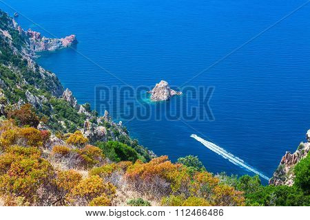 Coastal Landscape Of South Corsica. Piana Region