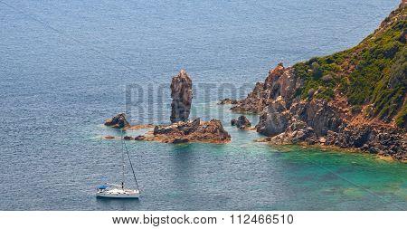 Coastal Rocks Of Corsica Island. Capo Rosso