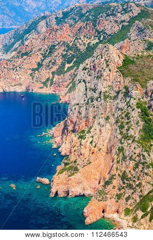Vertical Landscape Of Corsica Island. Capo Rosso