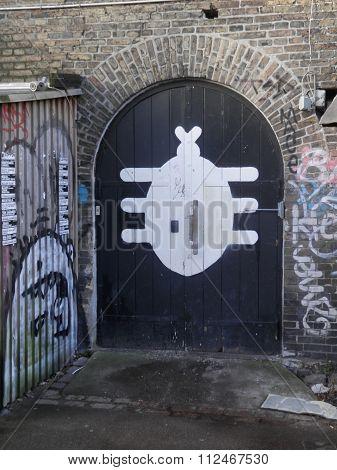 Door With White Sign