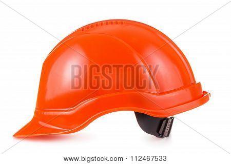 Red Safety Helmet On White Background, Hard Hat