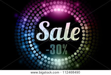 Sale - Gold Disco Lights Frame. Eps 10.  Vector. Baner