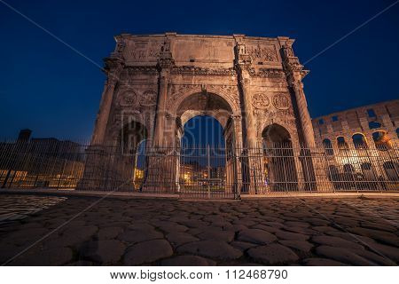 Rome, Italy: Arch of Constantine in the sunset