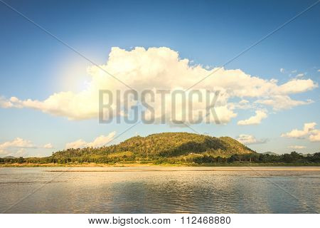Big Cloud On Top The Mountian With Sunlight At Chiang Khan Viewpoint Northeast Thailand