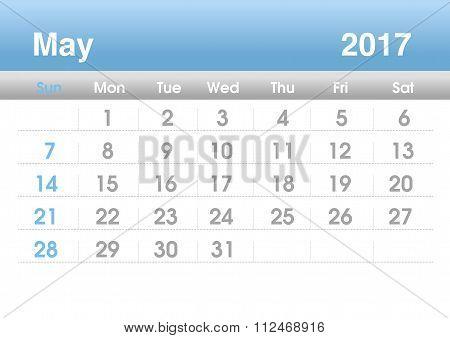 Calendar 2017. Planning calendar for May 2017.Vector template.