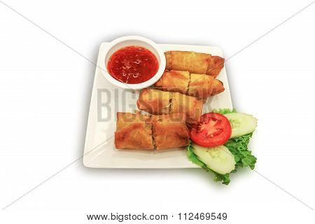 Deep Fried Spring Roll With Sweet Chili Dip Sauce