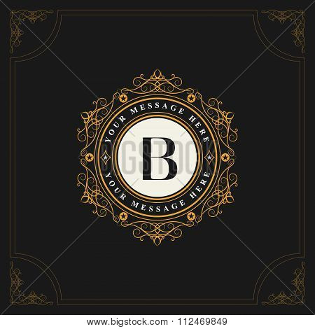 Monogram Design Elements, Graceful Template. Elegant Line Art Logo Design. Emblem Letter B. Retro Vi