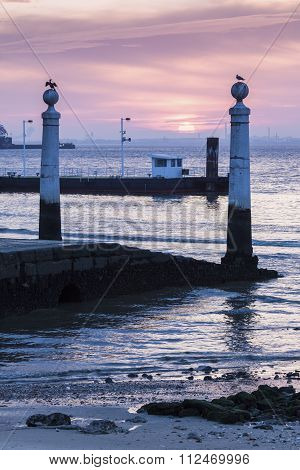 Ferry Pier In The Center Of Lisbon