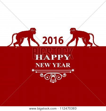 Happy New Year Holidays 2016 Decorations Card. Silhouette Monkey On Red White Background. Greeting C