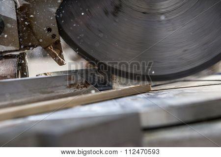 Closeup Shot Of Blade Cutting Wood