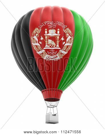 Hot Air Balloon with Afghan Flag. Image with clipping path