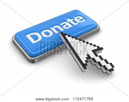 Cursor and button Donate. Image with clipping path