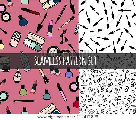 Make-up Cosmetics Seamless Pattern Set