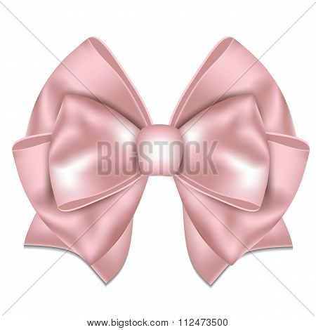 Beautiful pink bow on white background.