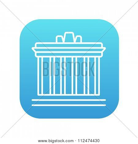 Acropolis of Athens line icon for web, mobile and infographics. Vector white icon on the blue gradient square with rounded corners isolated on white background.