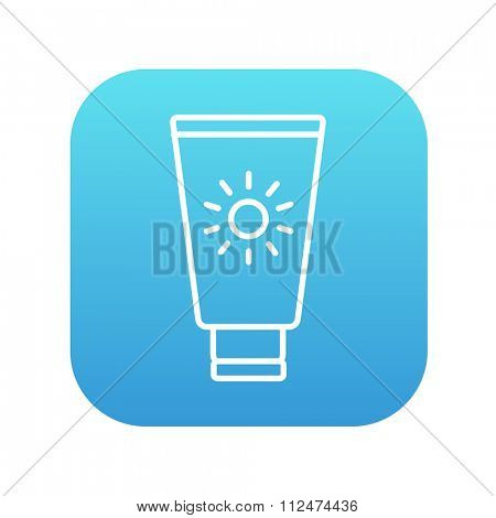 Sunscreen line icon for web, mobile and infographics. Vector white icon on the blue gradient square with rounded corners isolated on white background.