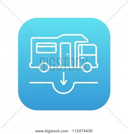 Motorhome and sump line icon for web, mobile and infographics. Vector white icon on the blue gradient square with rounded corners isolated on white background.