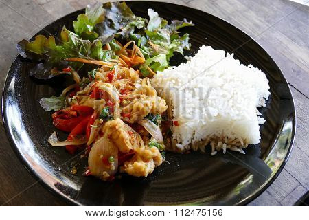 Fish Stir Fry With Chili Sauce Serving With Rice And Vegetable