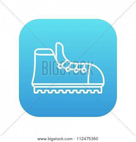 Hiking boot with crampons line icon for web, mobile and infographics. Vector white icon on the blue gradient square with rounded corners isolated on white background.