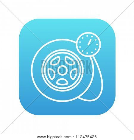 Pressure gauge tyre  line icon for web, mobile and infographics. Vector white icon on the blue gradient square with rounded corners isolated on white background.